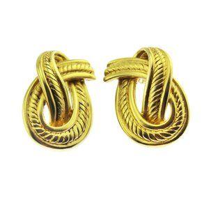 Large Matte Gold Knot Earrings